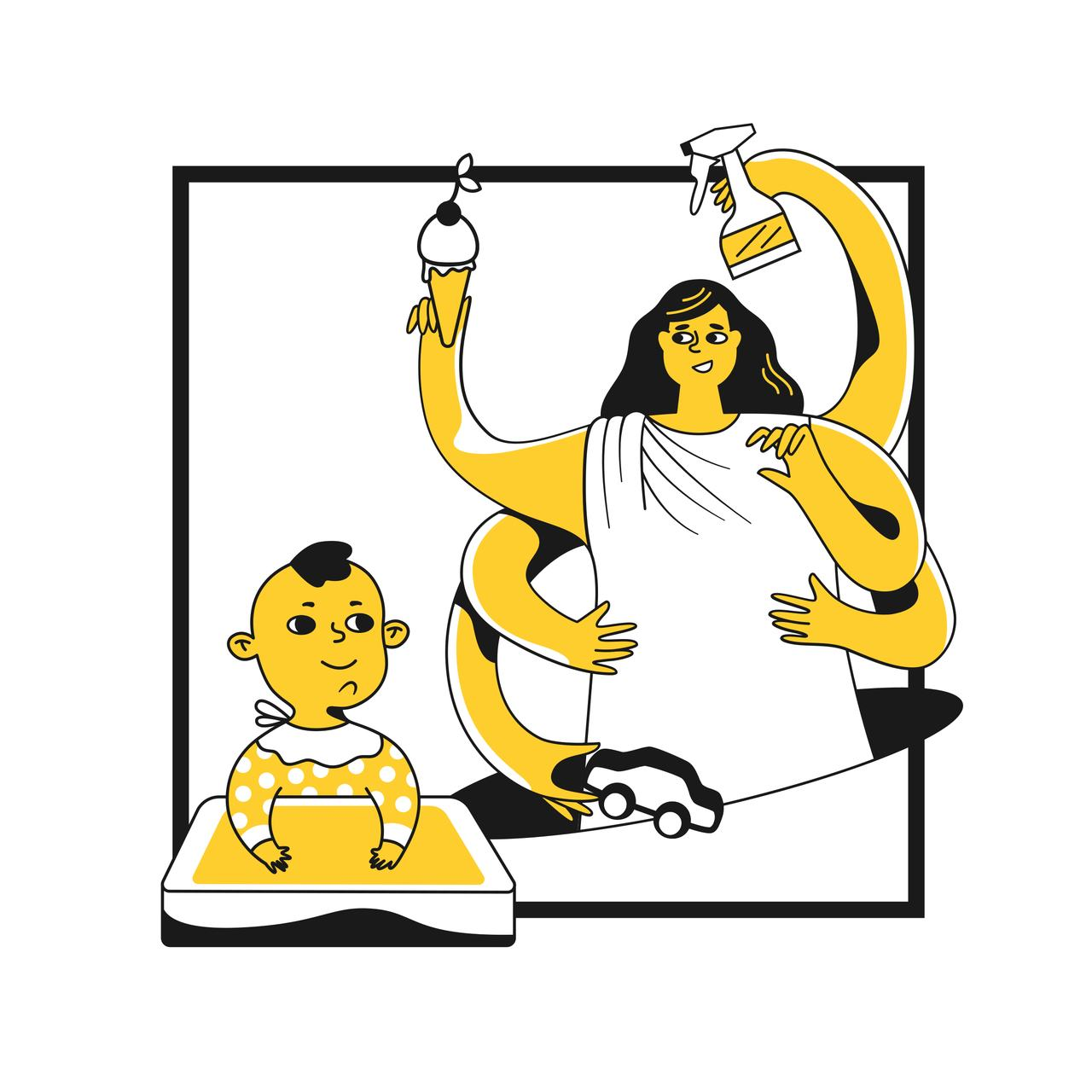 birden fazla kolu olan, elinde dondurma ve temizlik spreyi tutan anne ve önünde mama sandalyesinde oturan bebeği