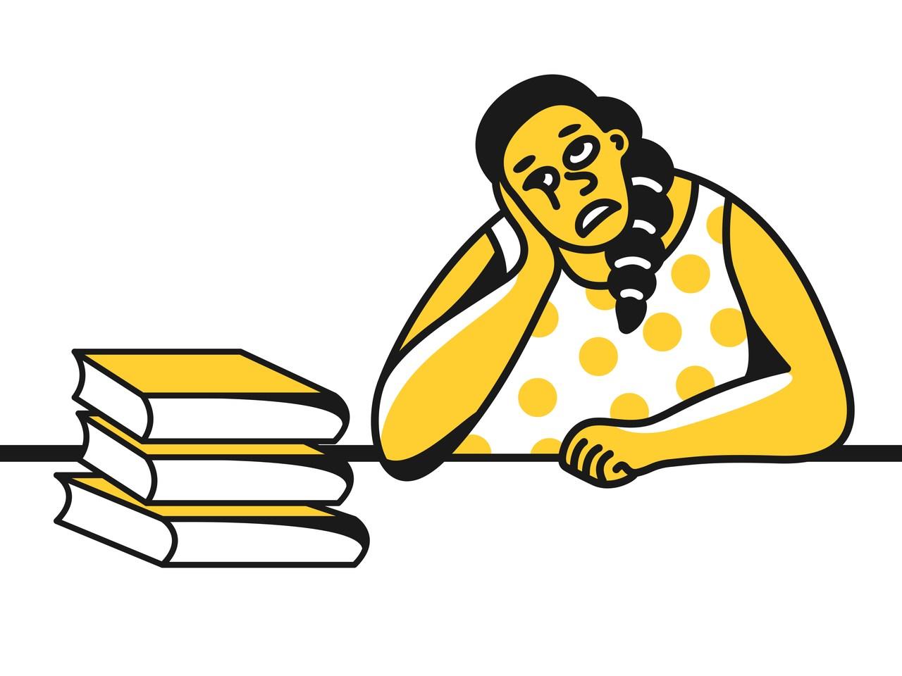 önünde birkaç tane kitap olan ve havaya bakıp umutsuzca düşünen kadın