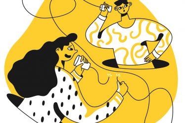 ellerindeki karton bardaklarla iletişim kurmaya çalışan iki kadın illüstrasyonu