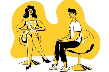 oturup konuşan genç adam ve psikolog çizimi