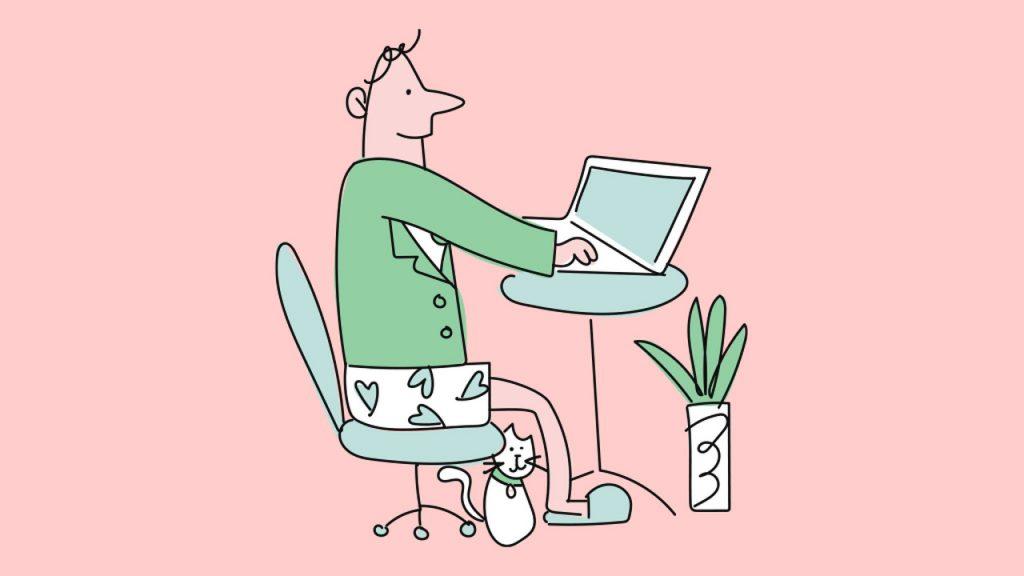 evde bilgisayar karşısında çalışan adam
