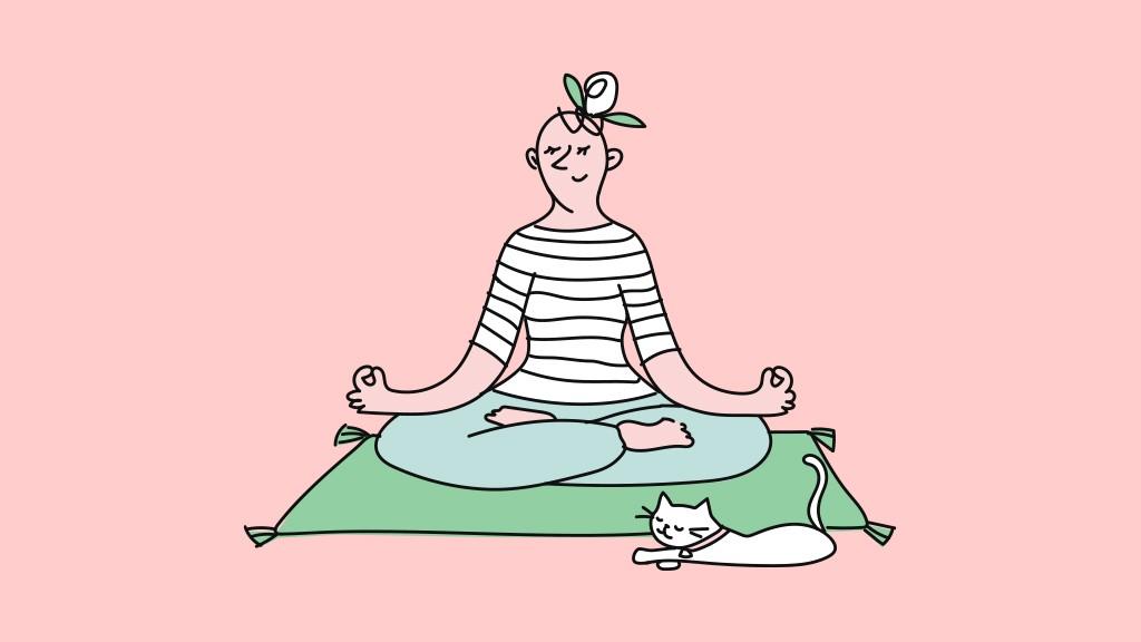 tek başına oturup yoga yapan bir kadın