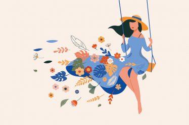 çiçeklerin arasında salıncakta sallanan şapkalı kadın illüstrasyonu